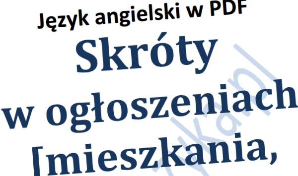 Skróty Ogłoszenia Angielski PDF